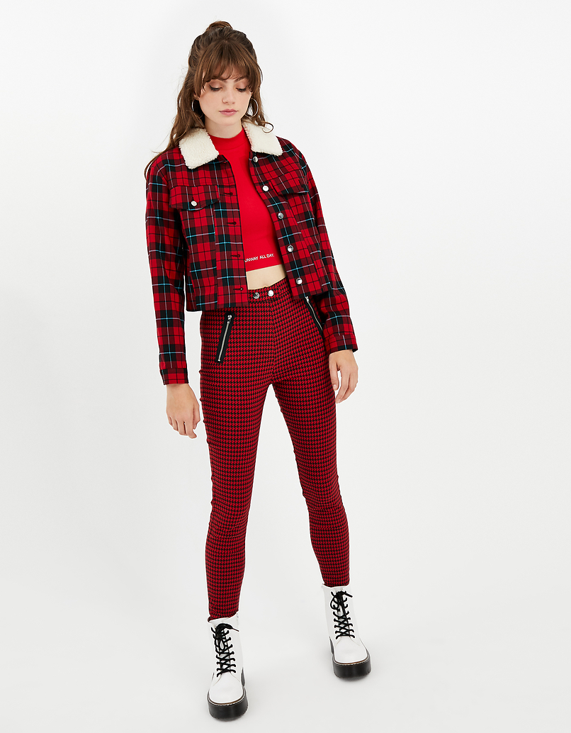 High Waisted Houndstooth Trousers