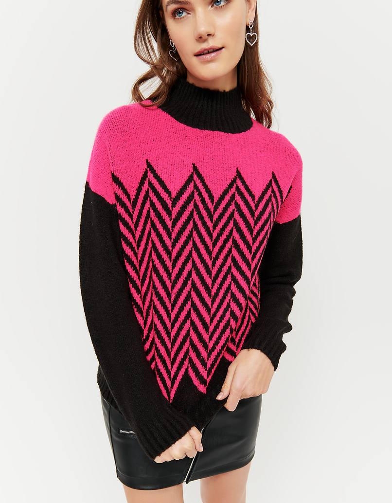 Pink & Black Chevron Jumper