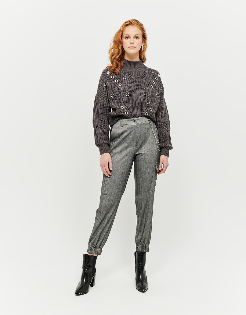 Grey Jumper with Eyelets