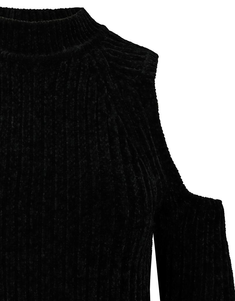 Schwarzer schulterfreier Chenille-Pullover