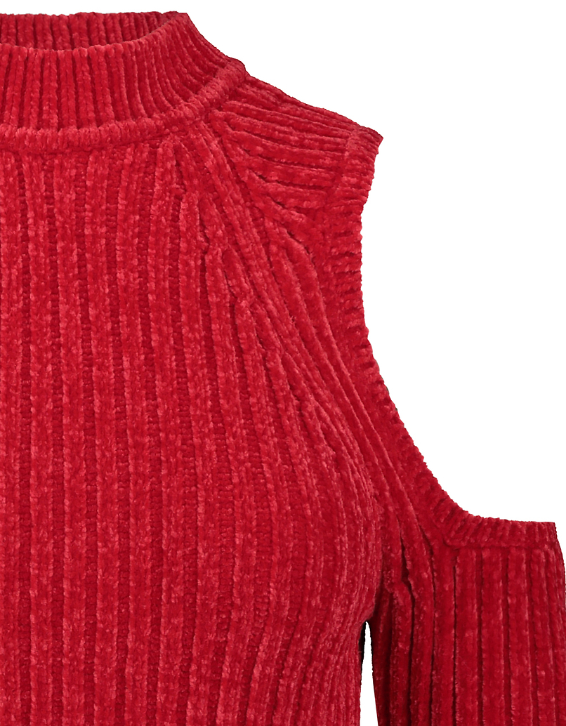 Red Cold Shoulders Chenille Jumper