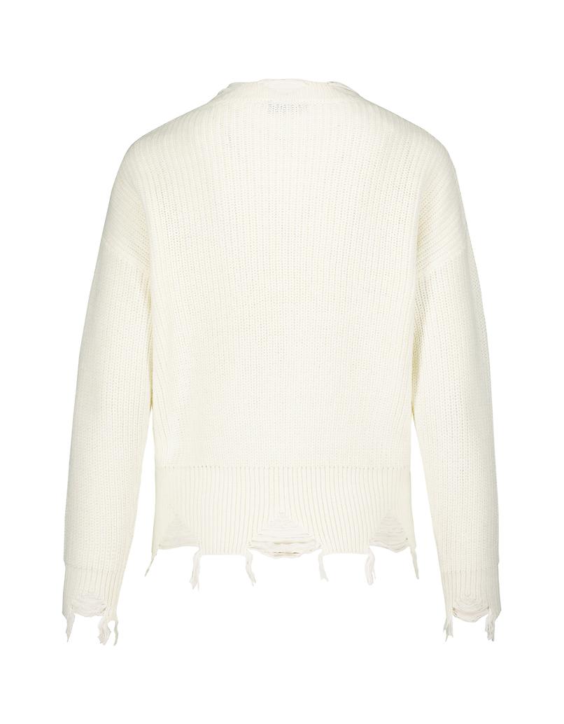 Pullover Bianco Destroy