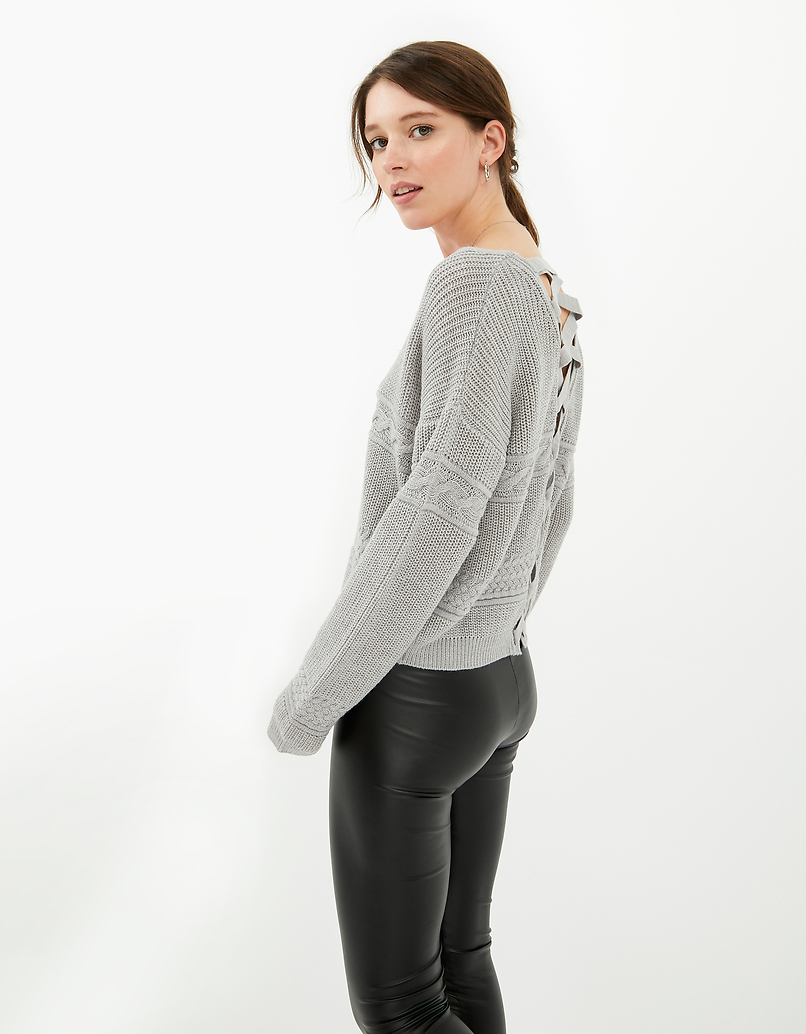 Grey Criss Cross Jumper