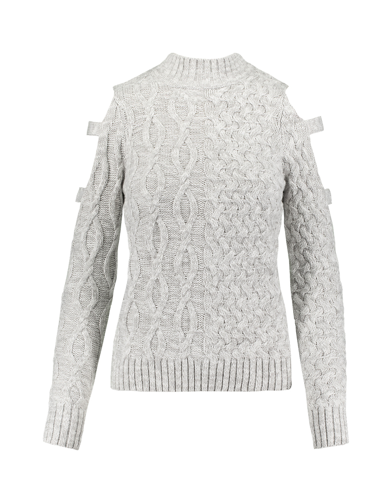 Grey Cable Knit Jumper with Cut Out