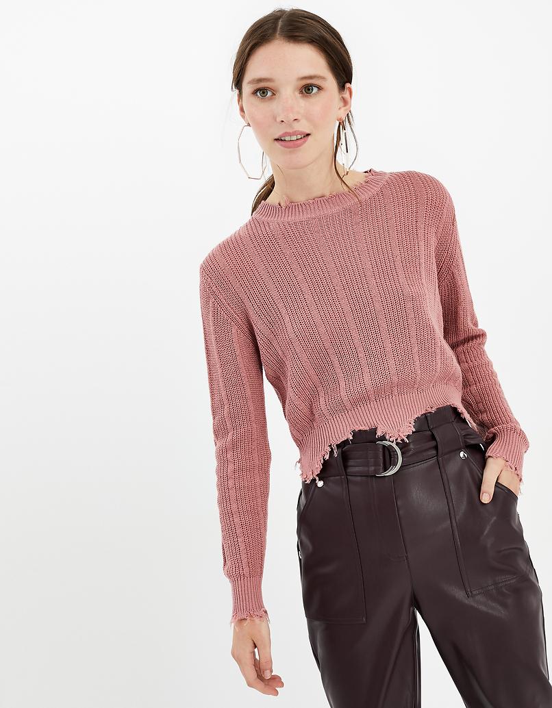 Pinker, weicher Destroyed Pullover