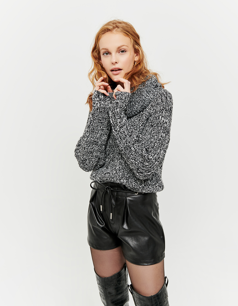 Black & White Jumper with Cowl Neck