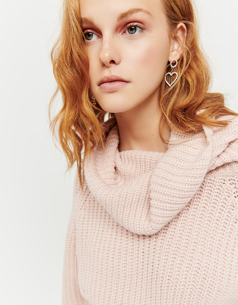 Pull Rose Col Bénitier