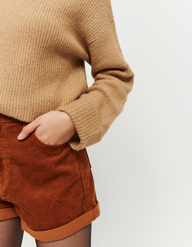 Beige Jumper with Mock Neck