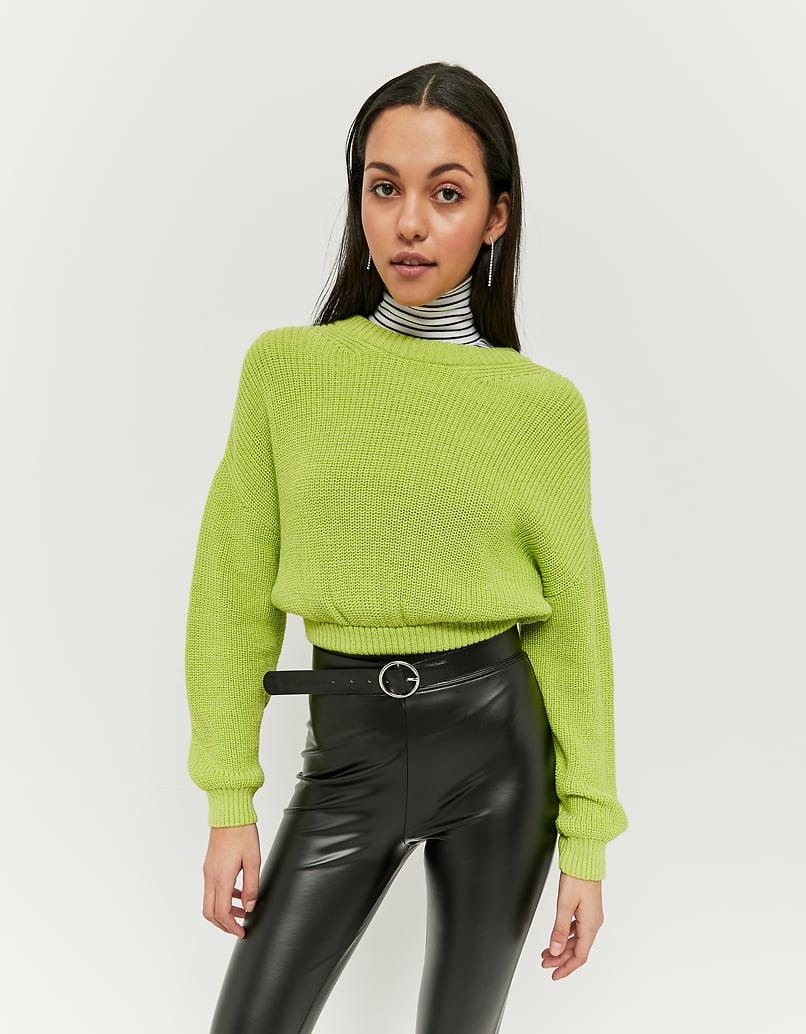 Neongrüner grobstrick Pullover