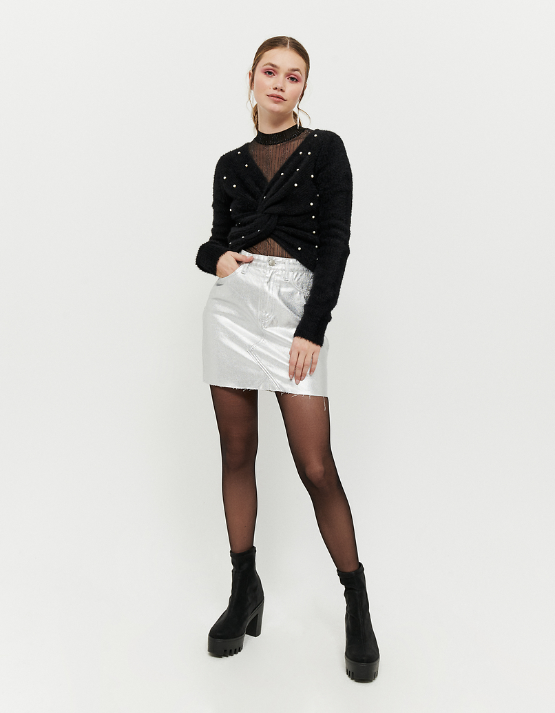 Black Twisted Jumper with Pearls