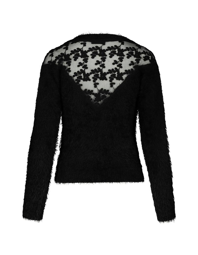 Schwarzer Pullover mit Spitze