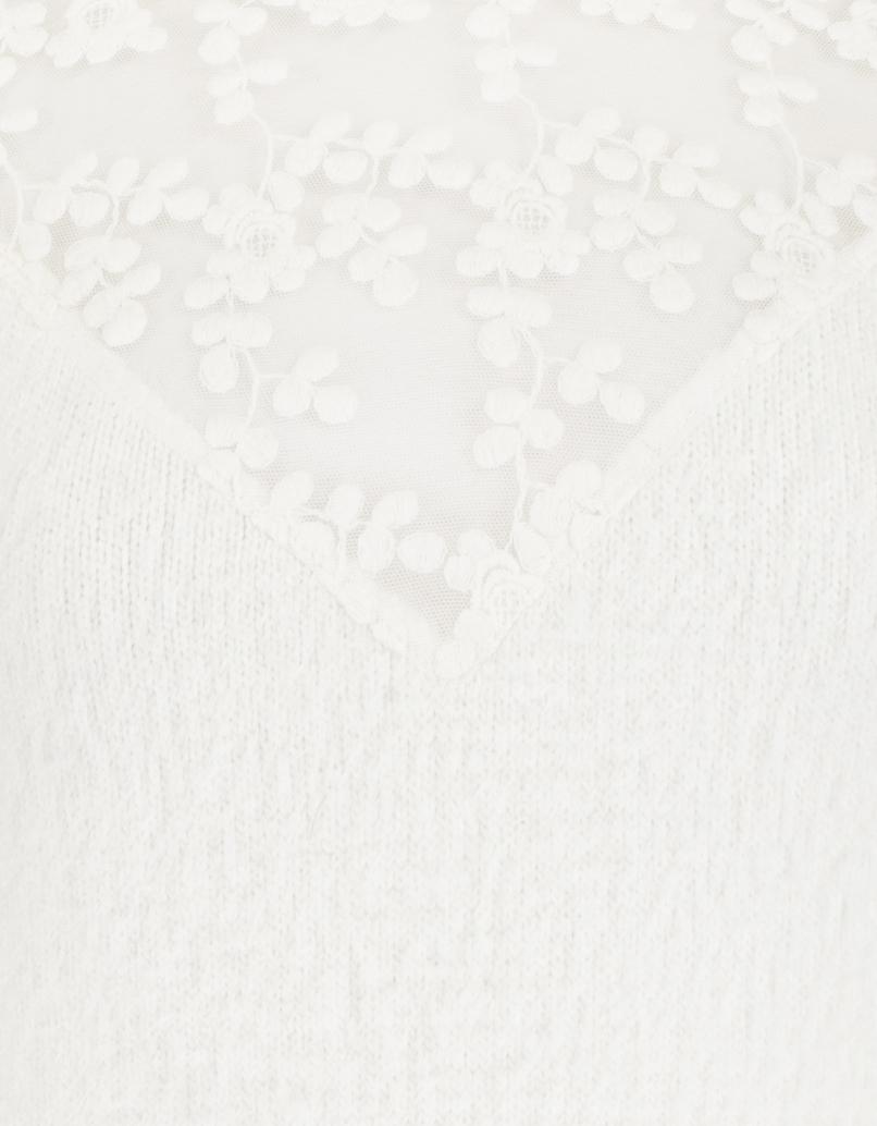 Pull Blanc à Dentelle