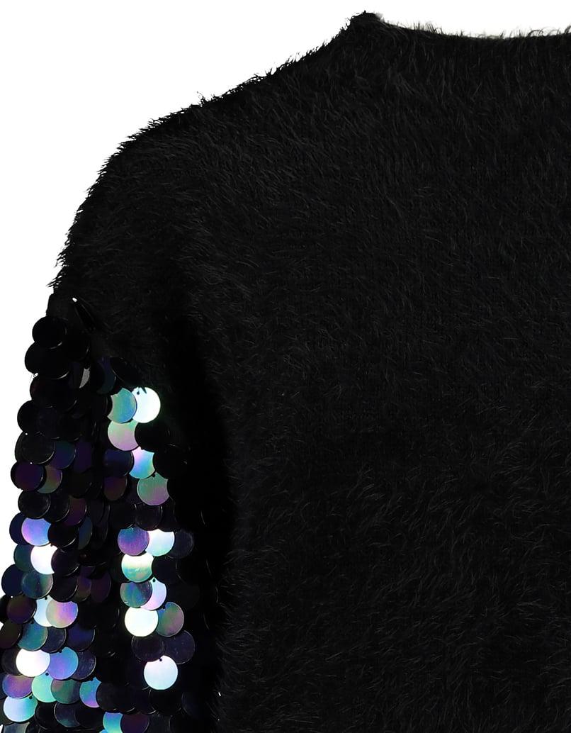 Black Jumper with Sequins Sleeves