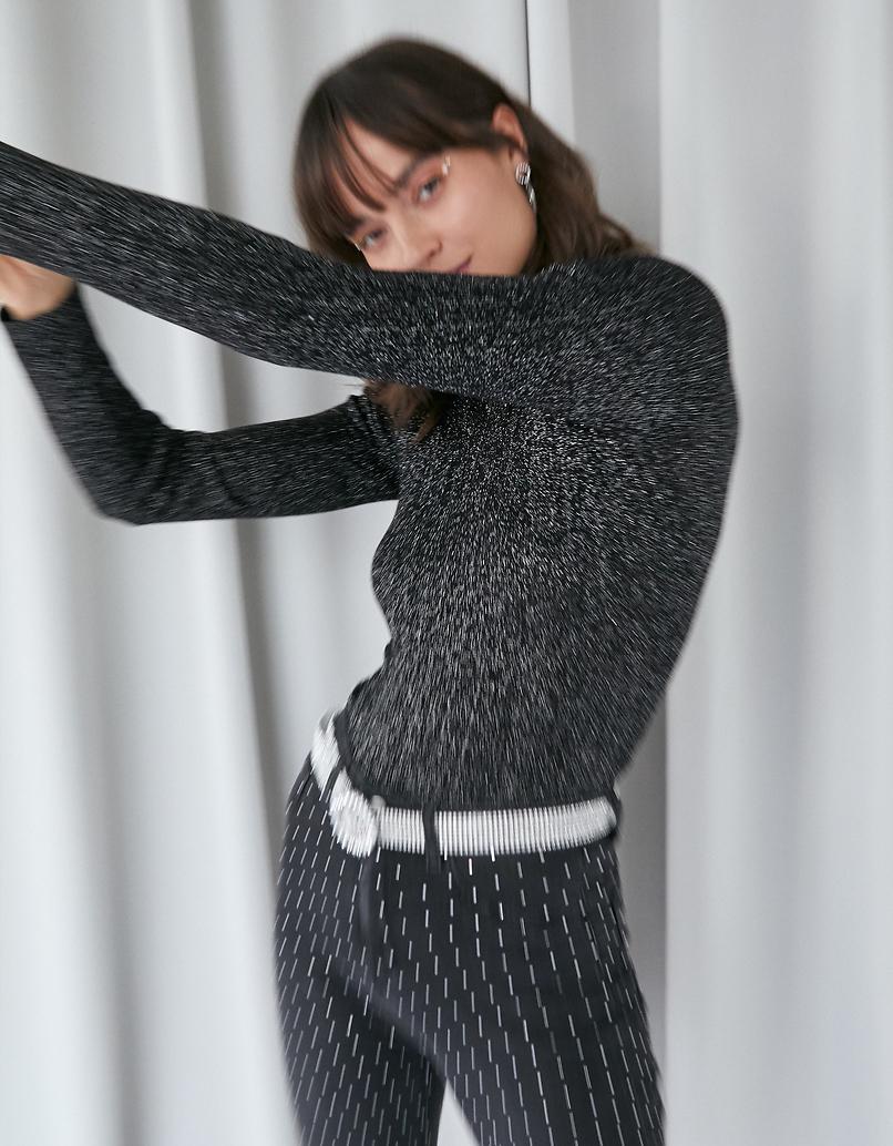 Maglione Nero a Collo Alto in Lurex