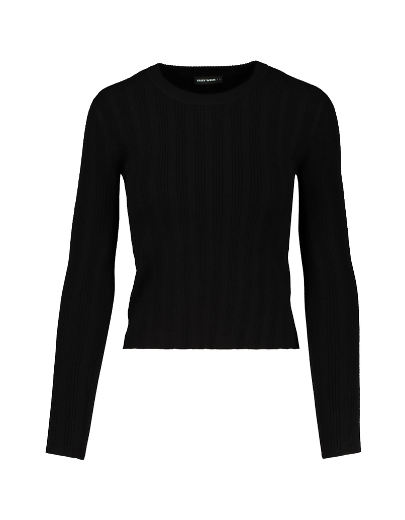 Black Ribbed Knitted Jumper