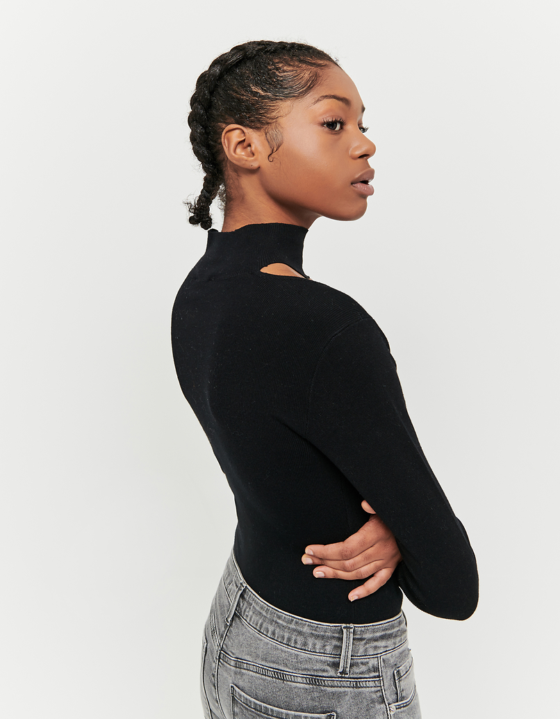 Black Ribbed Jumper with Cut Out