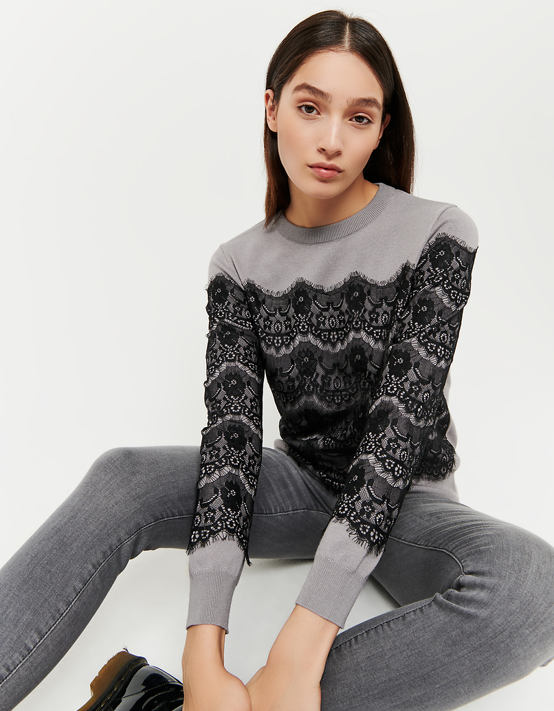 Grey Jumper with Lace