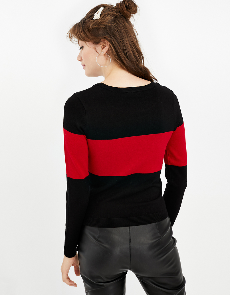 Black Knitted Jumper with Slogan
