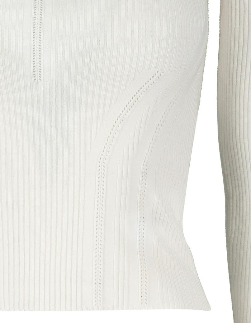 Weißer figurbetonter Pullover