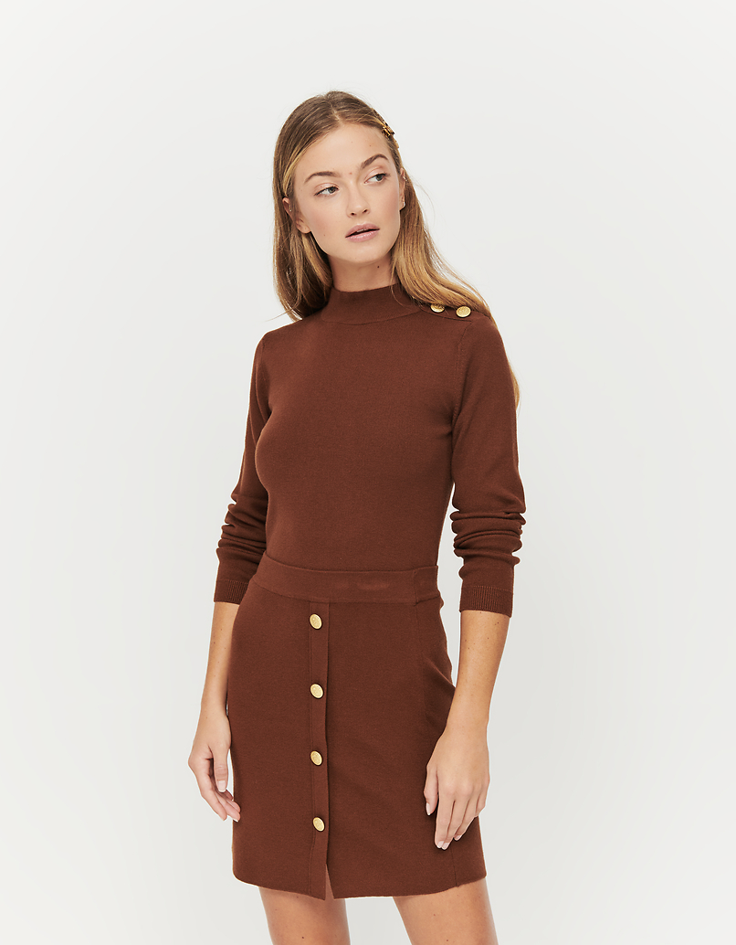 Brown Fitted Jumper with Buttons