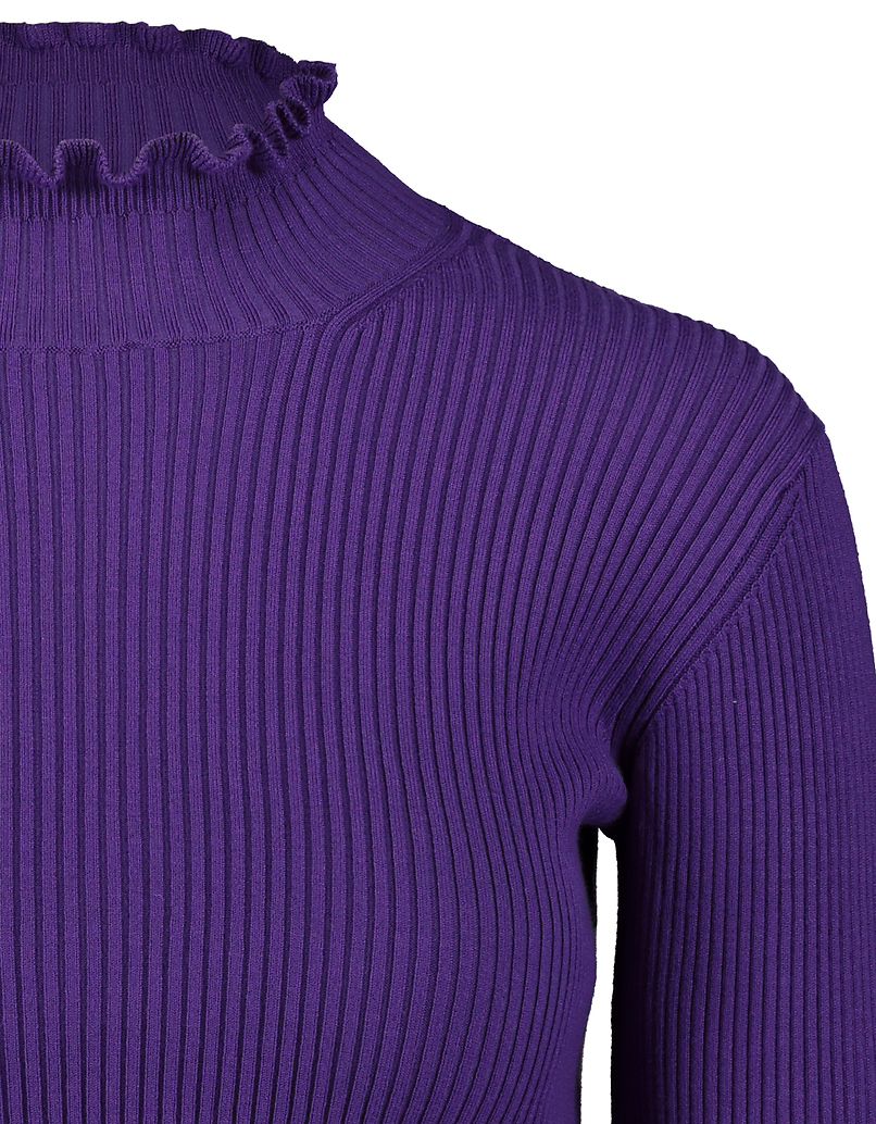 Purple Cropped Jumper with Lettuce Hem