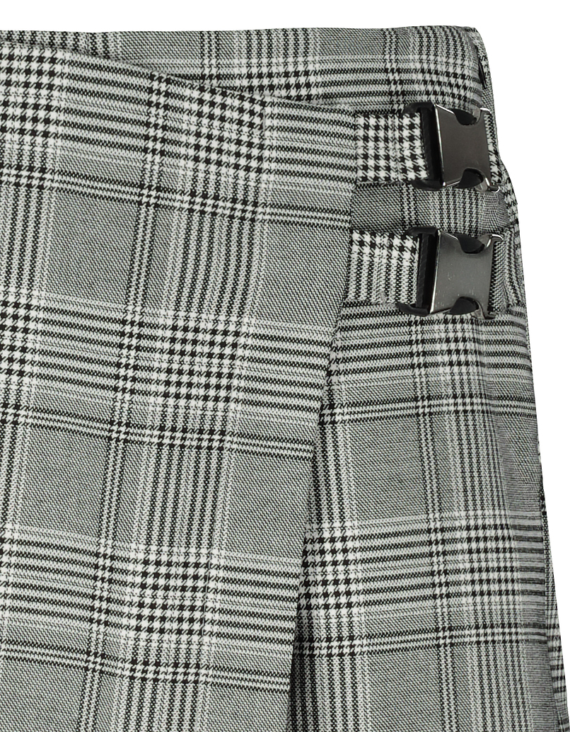 Glen Check Skort with Seatbelt Buckle Detail