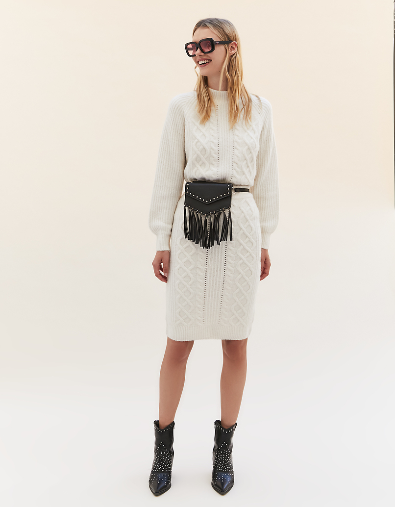 Beige Pointelle & Cable Knit Skirt
