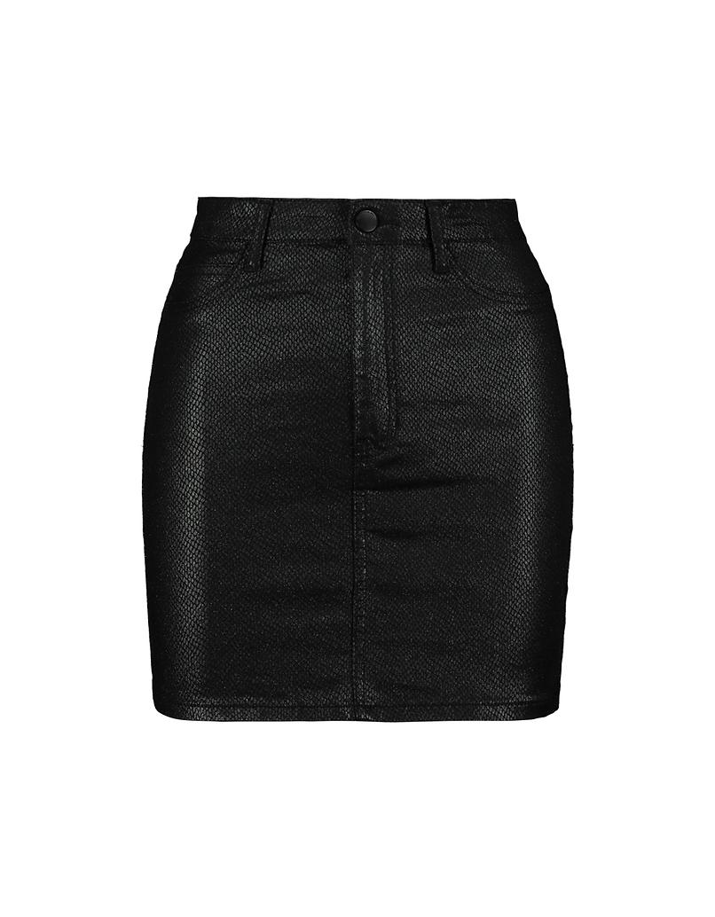 Black High Waist Snake Vinyl Skirt