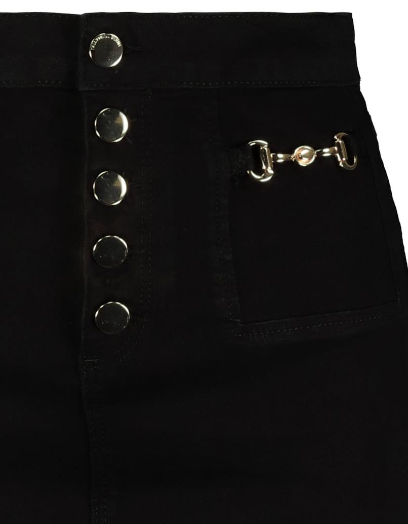 Schwarzer, High Waist Rock mit goldenen Details