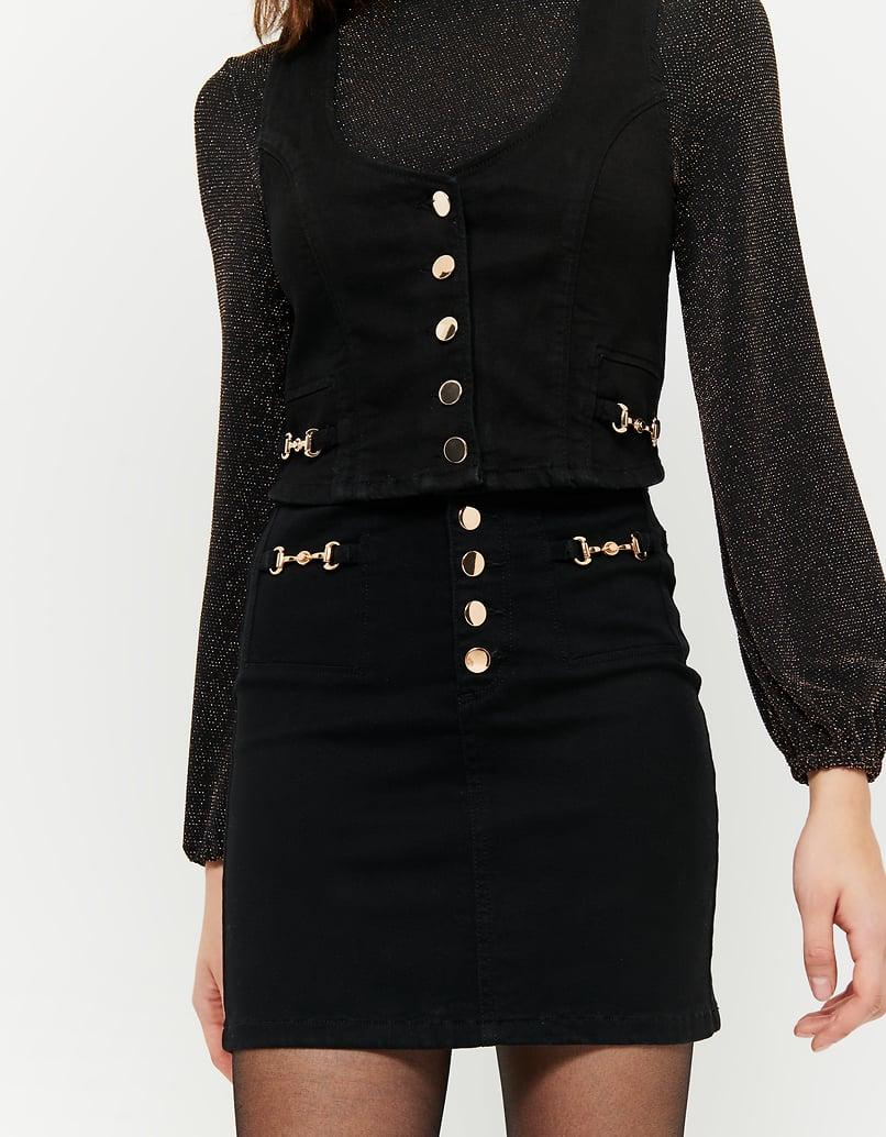 Black High Waist Skirt with Golden Details