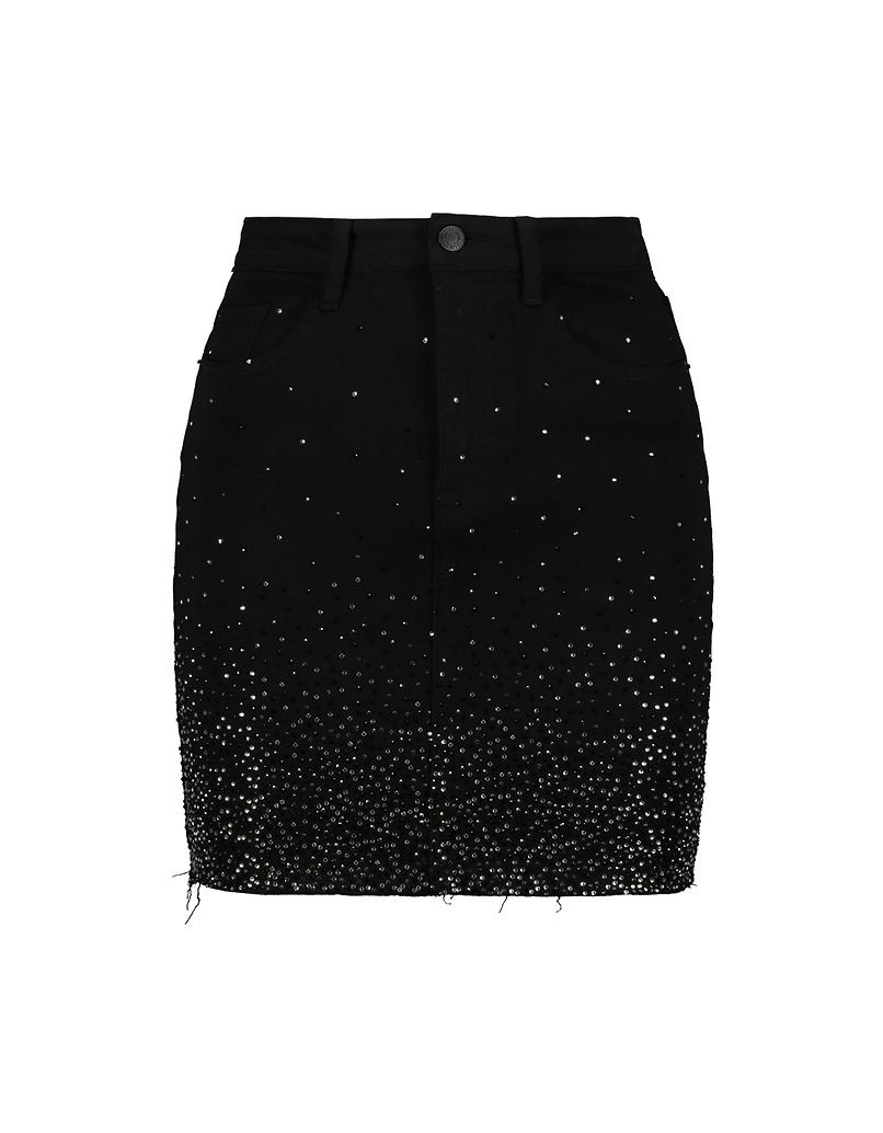 Jupe Noire Taille Haute avec Strass