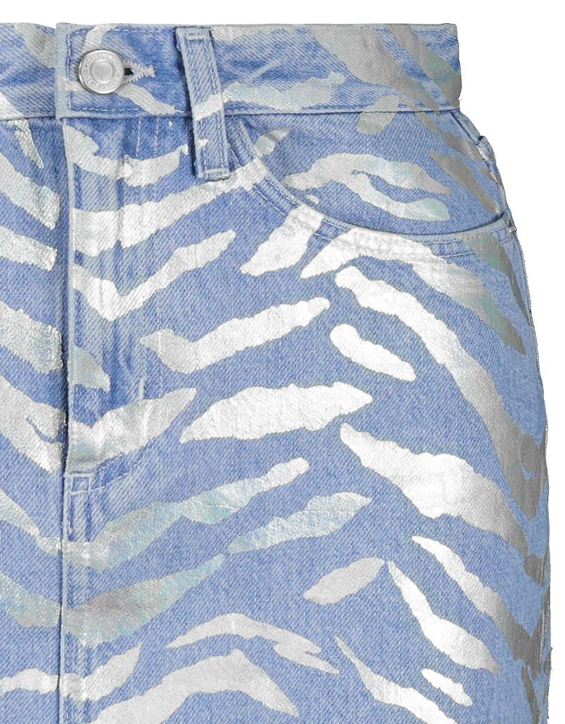 Gonna di Jeans con Stampa Zebra Metallica