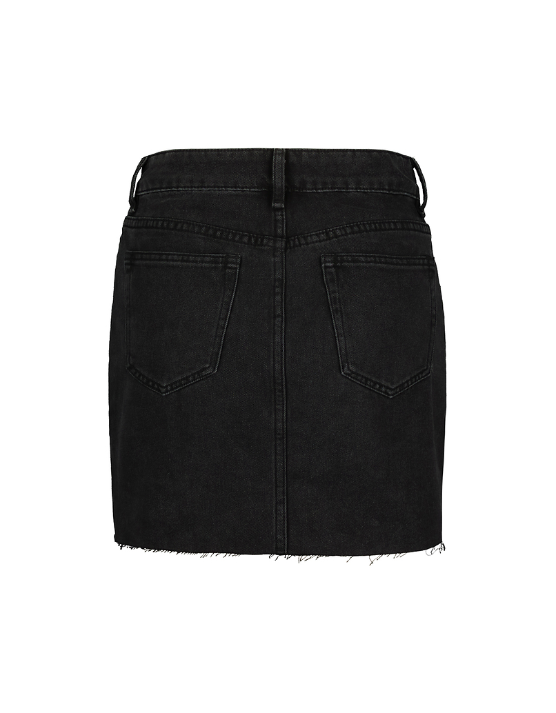 Black Denim Skirt with Western Buckles