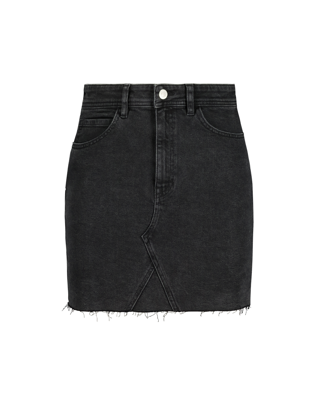 Denim Skirt with Raw Hem