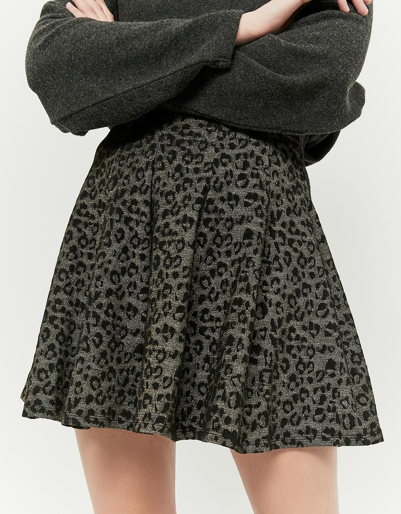 Green Printed Skater Skirt