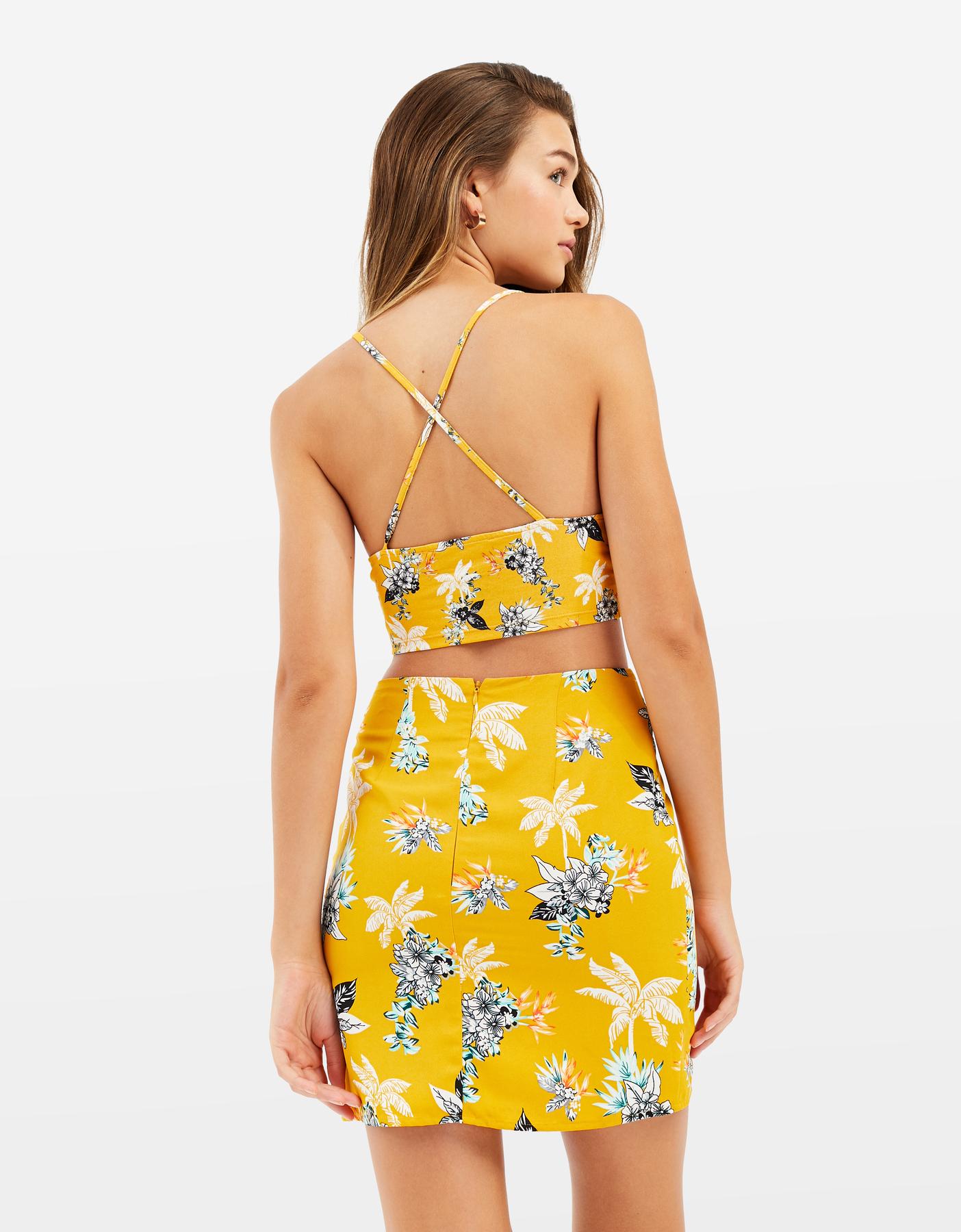 Yellow Tropical Print Mini Skirt