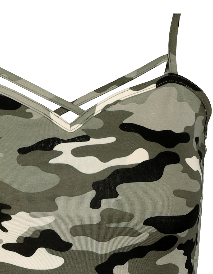 Camo Front Cross Tank Top