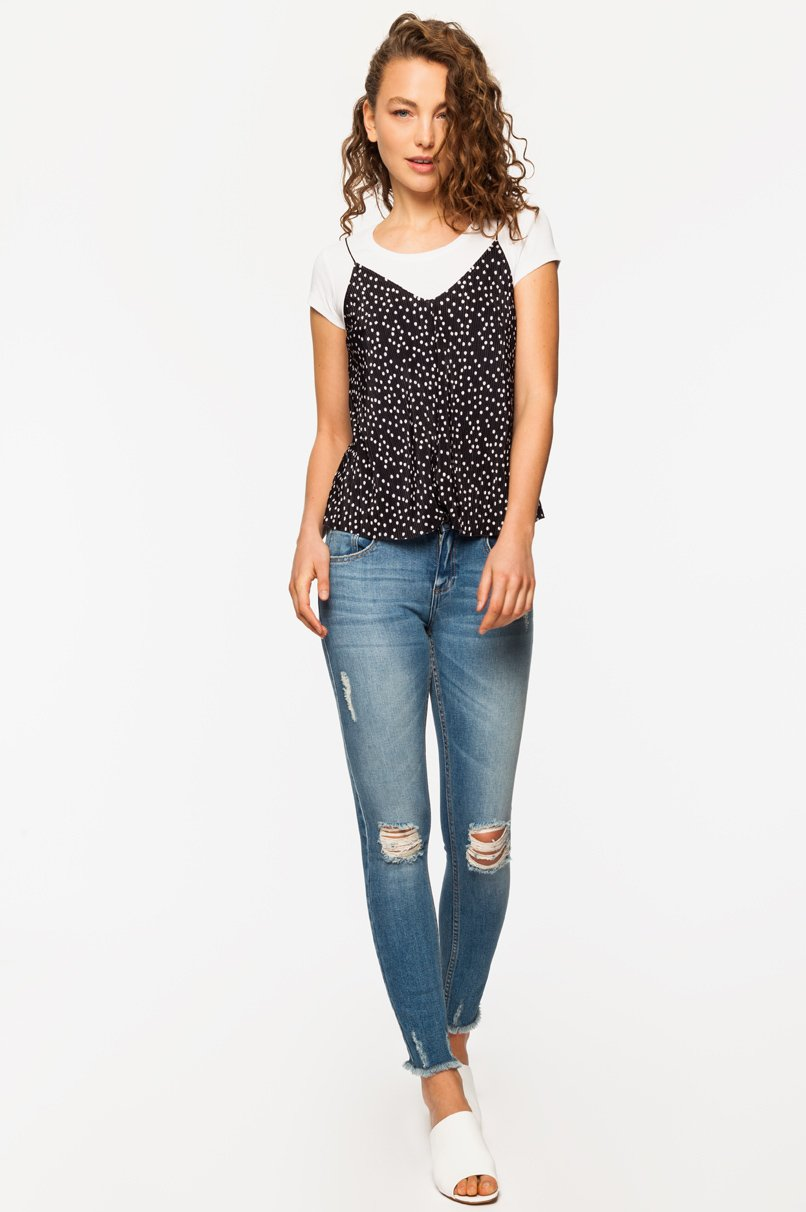 Black Polka Dot Pleated Top