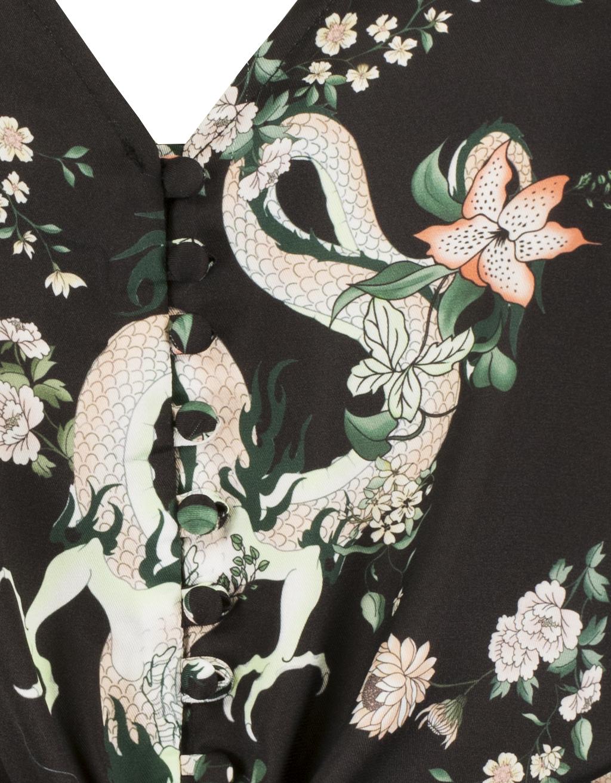 Black Oriental Print Top