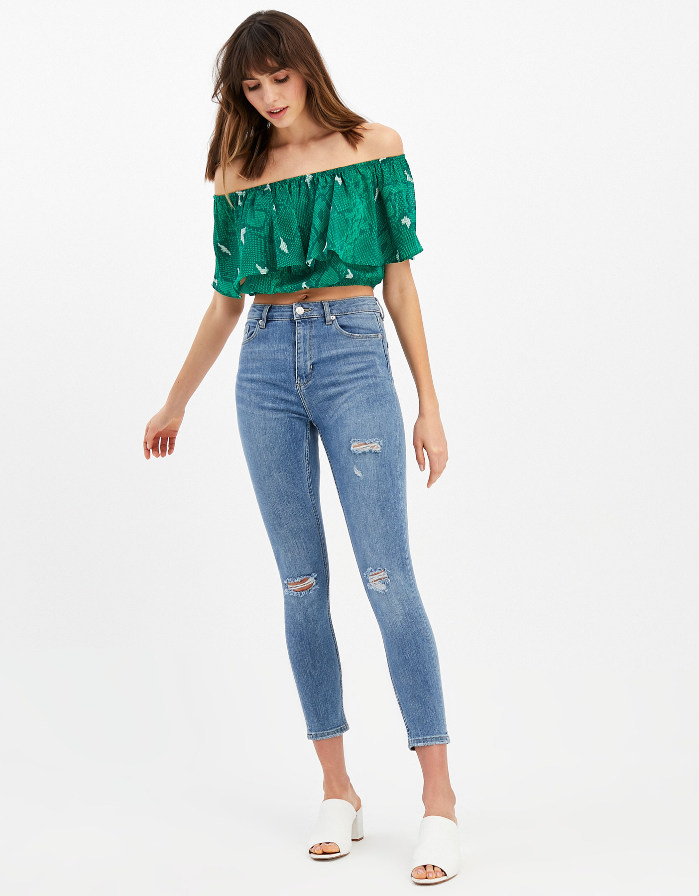 Green Snake Ruffle Top