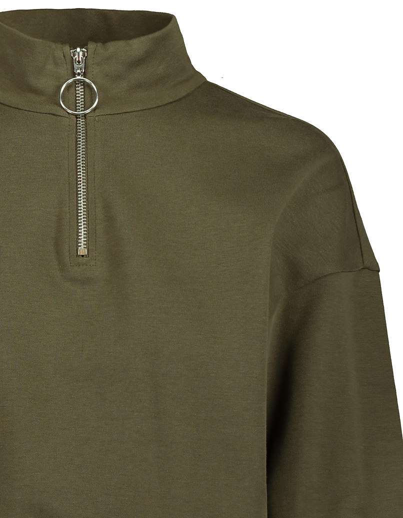 Khaki High Neck Sweatshirt