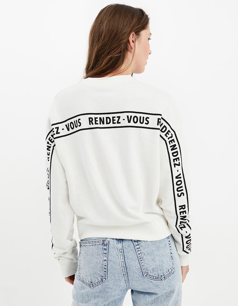 White Sweatshirt with Slogan