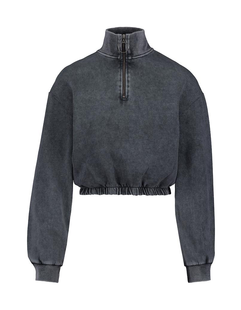 Verwaschenes Graues Sweatshirt mit Zip