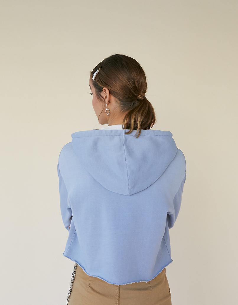 Verwaschene Blaue Hoodie