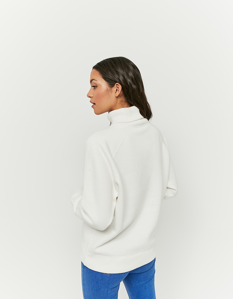 White High Neck Sweatshirt