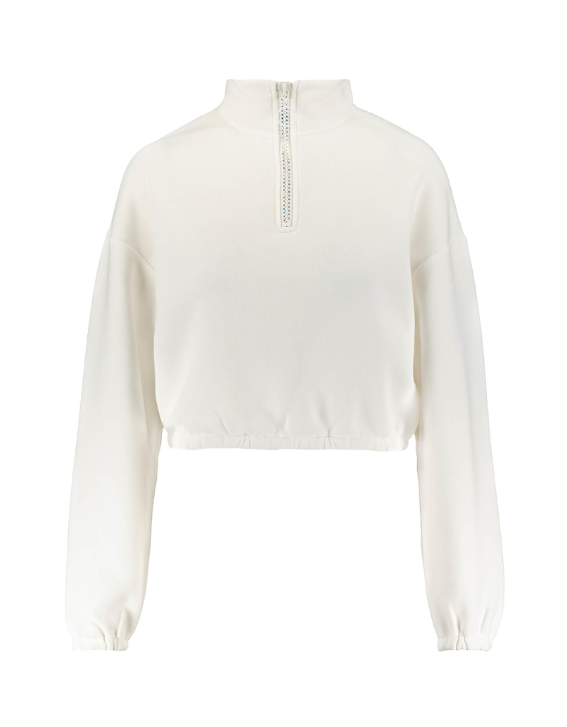 White Sweatshirt with High Neck