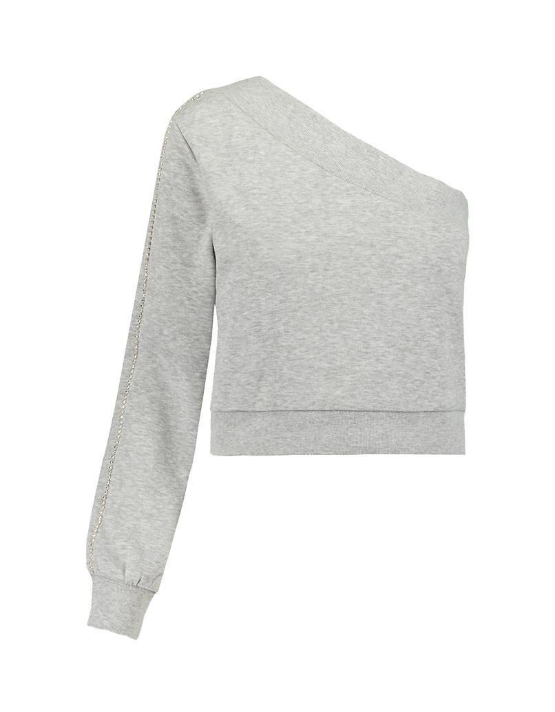 One Sleeve Sweatshirt with Rhinestones
