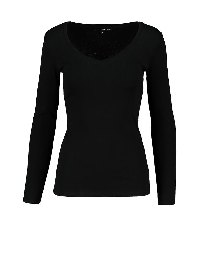 Schwarzes Langarm-Shirt mit V-Ausschnitt