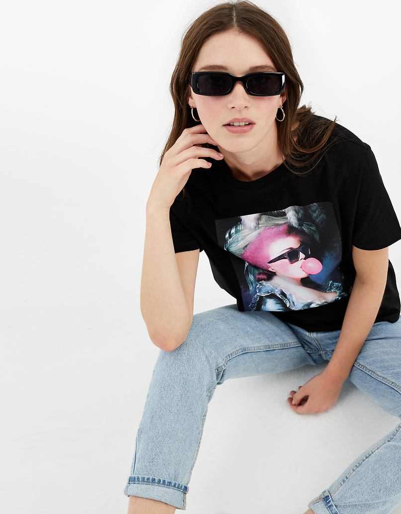 Black Meme Print T-Shirt