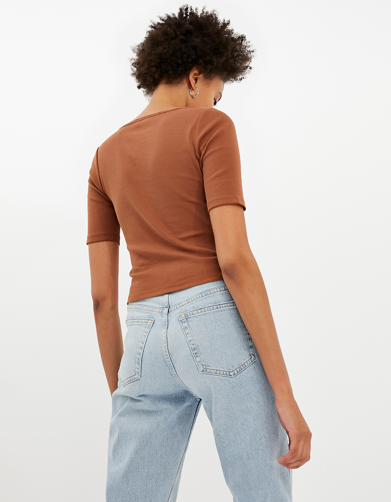 Brown V-Neck Top